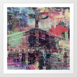 Totem Cabin Abstract - Multi Art Print