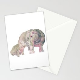 Mom and Baby Hippo Stationery Cards