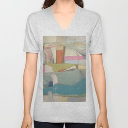 """tidal pool"" abstract art in turquoise, cream, white, orange and pink by Unisex V-Neck"