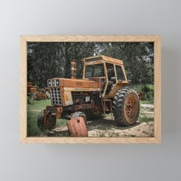 International 966 Rust Red Tractor with Cab Rusty Tractors Framed Mini Art Print