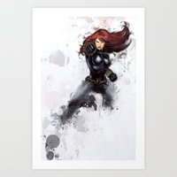 black widow Art Prints featuring Black Widow by Isaak_Rodriguez