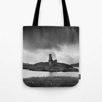 scotland Tote Bags featuring SCOTLAND, CASTLE by Carlos Sanchez