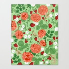 Roses and strawberries on green Canvas Print