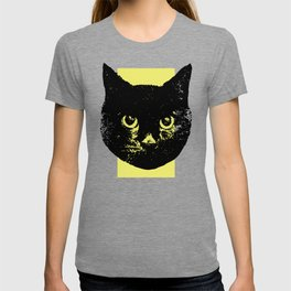 Black Cat, Color Block Yellow T-shirt