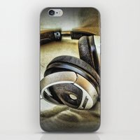 headphones iPhone & iPod Skins featuring Headphones by AngelEowyn