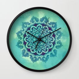 Green Blue Mandala Design Wall Clock