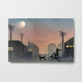 Night Ride Watercolor Metal Print