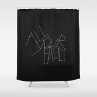 fault Shower Curtains featuring All Your Fault by witchoria
