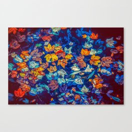 Colorful Fall Leaves in a Pond Canvas Print