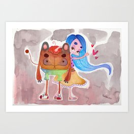 Little girl and a monster Art Print