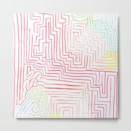 Modern pink red pencil drawing abstract pattern Metal Print