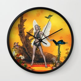 Beautifuk fairy with butterflies Wall Clock