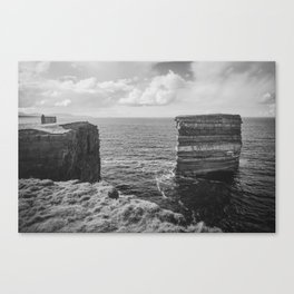 Dun Briste II Black and White Canvas Print