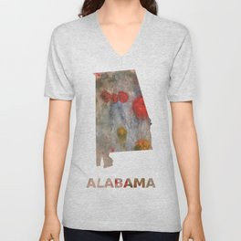 Alabama map outline Rosy brown clouded wash drawing painting Unisex V-Neck