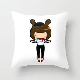 French Bunny Throw Pillow