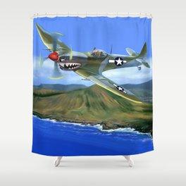 Spitfire Soars Over Hawaii Shower Curtain
