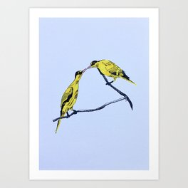 Commitment | line illustration of birds Art Print