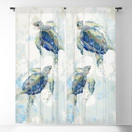Swimming Together 2 - Sea Turtle  Blackout Curtain