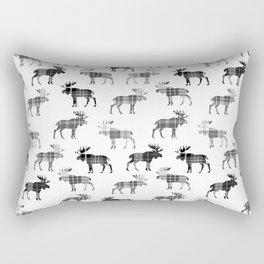 Moose Trot // Black & White Plaid Rectangular Pillow