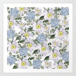 Vintage Roses Blue Art Print