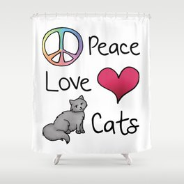 Peace Love Cats Shower Curtain