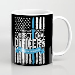 God Created Correctional Officers Patriotic Coffee Mug