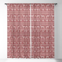 Ugly Christmas sweater | Greyhound / Whippet / Italian greyhound red Sheer Curtain