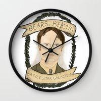 dwight schrute Wall Clocks featuring Dwight Schrute by Rhian Davie