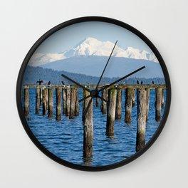 MOUNT BAKER KOMA KULSHAN AND OLD PILINGS  Wall Clock