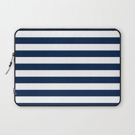 Slate Blue and White Stripes  - Navy Nautical Pattern Laptop Sleeve