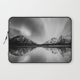 Black and White Mountains on Water Laptop Sleeve