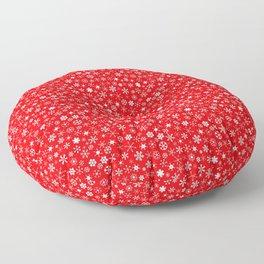 Velvet Red & White Christmas Snowflakes Floor Pillow