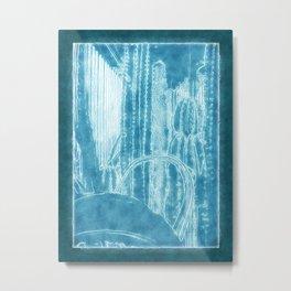 Cactus Garden Outlined Blue Metal Print