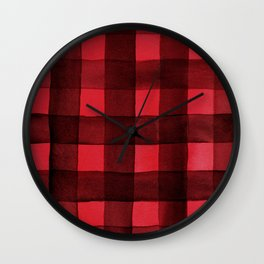 Buffalo Plaid Watercolor in Red Wall Clock