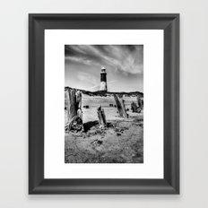 Spurn Point Lighthouse and Groynes Framed Art Print