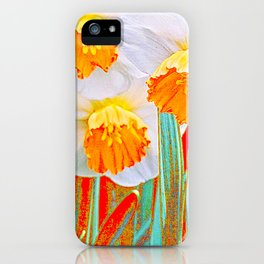 GOLDEN SPRING DAFFODILS RED GARDEN iPhone Case