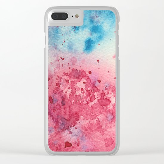 When pink meets blue || watercolor Clear iPhone Case