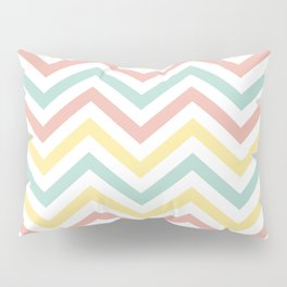 Chevron Coral, Turquoise  and Yellow - Spring Pattern Pillow Sham