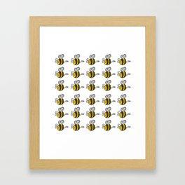 Hand drawn black yellow stripes cute honey bee illustration Framed Art Print