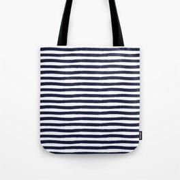 Navy Blue and White Horizontal Stripes Tote Bag