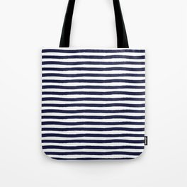 Navy Blue and White Horizontal Stripes Tote Bag