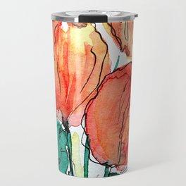 Tulips - Watercolor Flowers Art Travel Mug