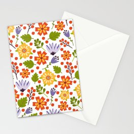 Sunshine yellow lavender orange abstract floral illustration Stationery Cards