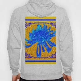 ABSTRACT BABY BLUE SPIDER MUM ON GOLD PATTERN FLOWERS Hoody