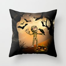Halloween, Funny mummy  Throw Pillow
