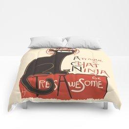 A French Ninja Cat (Le Chat Ninja) Comforters