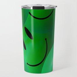 Fun Cool Happy green Smiley Faces Travel Mug