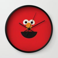 elmo Wall Clocks featuring Sesame Street Vintage Nursery Art Elmo Retro Style Minimalist Poster Print by The Retro Inc