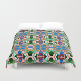 Woman with Sunflower - Blue Duvet Cover