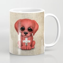 Cute Puppy Dog with flag of Switzerland Coffee Mug